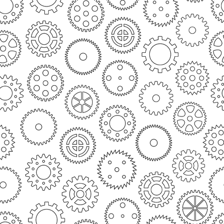 gearing: Seamless background with gear wheels, vector illustration