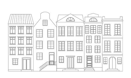 row houses: Row of houses, vector illustration