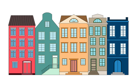 Row of color houses, vector illustration Çizim