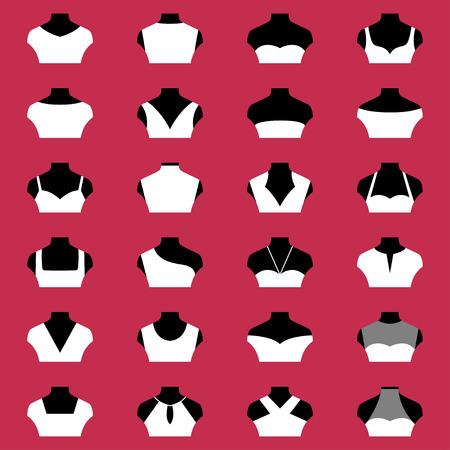 Types of necklines, vector illustration