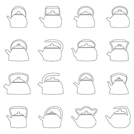 kettles: Conjunto de contornos de calderas, ilustración vectorial