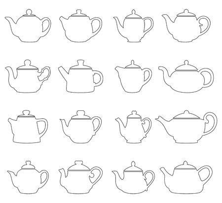 Set of outlines of teapots, vector illustration Vetores
