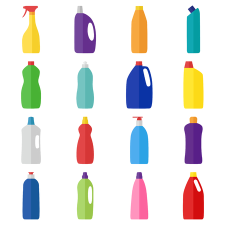 Set of bottles of cleaning products, vector illustration