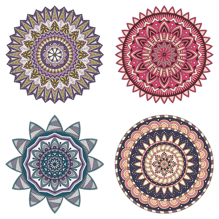 Set of color floral mandalas, vector illustration Illustration