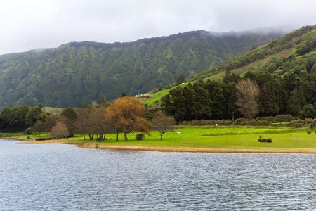 crater lake: Lake Sete Cidades on the island Sao Miguel, the Azores, Portugal Stock Photo