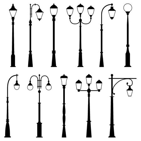 outdoor lighting: Set of street lamps, vector illustration