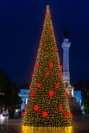 Christmas tree on Rossio Square, Lisbon, Portugal