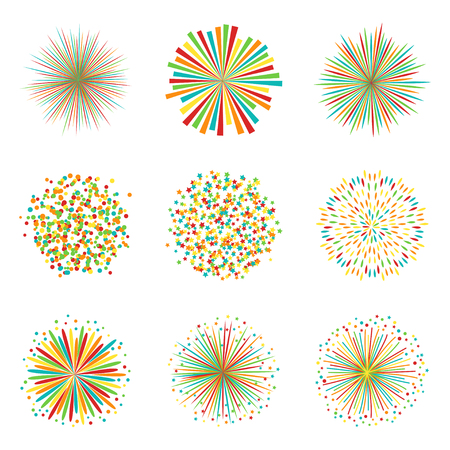 Set of colorful fireworks on white background, vector illustration Illustration