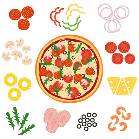 Pizza and ingredients for pizza, vector illustration Illustration