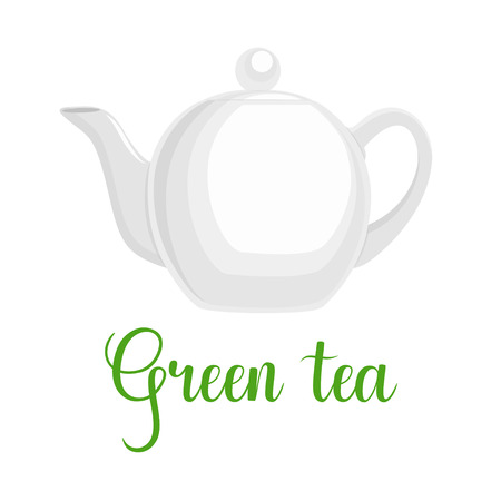 Teapot on white background, handwritten title Green tea, vector illustration