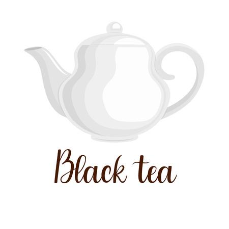 Teapot on white background, handwritten title Black tea, vector illustration