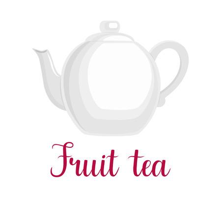 Teapot on white background, handwritten title Fruit tea, vector illustration