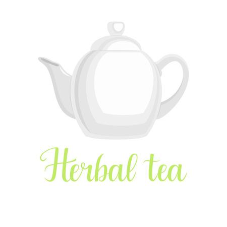 Teapot on white background, handwritten title Herbal tea, vector illustration Illustration