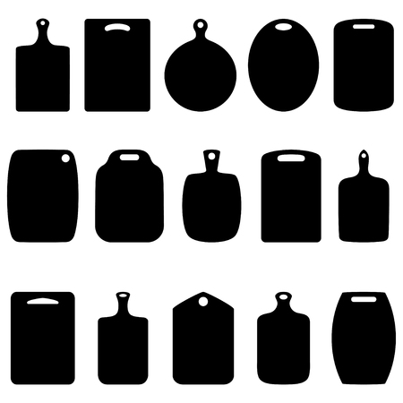 Set of silhouettes of cutting boards, vector illustration Çizim