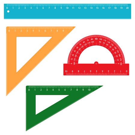 Set of school measuring rulers, vector illustration