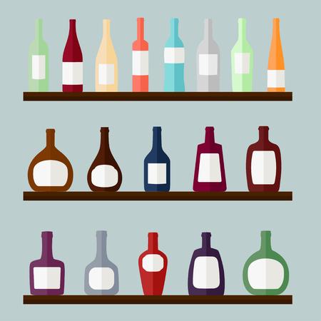 Set of alcohol drinks on the shelves, vector illustration
