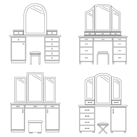 Collection of dressing tables, vector illustration Illustration