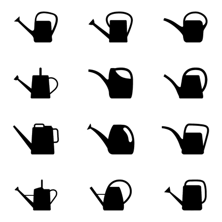 Set of silhouettes of watering can, vector illustration