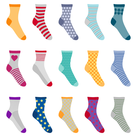 Set of colorful socks with different patterns, vector illustration Illustration