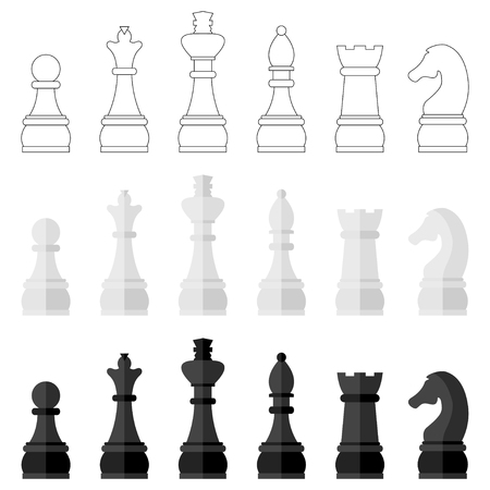 Set of icons of chess pieces, vector illustration