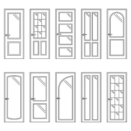 Set of contours of doors, vector illustration