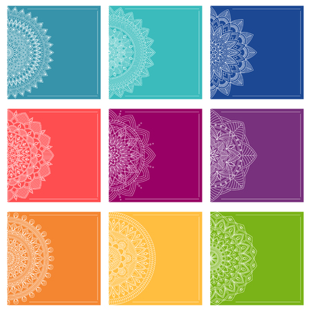 Set of greeting card templates with mandalas, vector illustration
