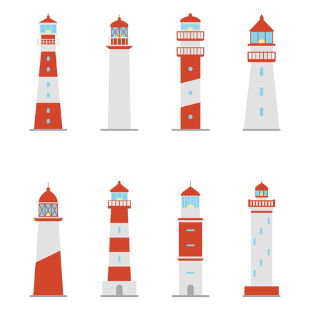 Set of color icons of lighthouses vector illustration.