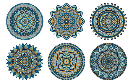 Set of 6 mandalas painted in the same palette, vector illustration