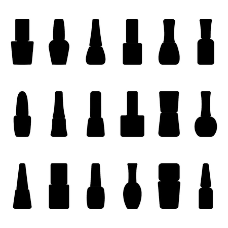 Set of silhouettes of nail polish bottles, vector illustration