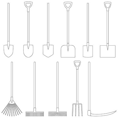 Set of contours of garden tools Illustration
