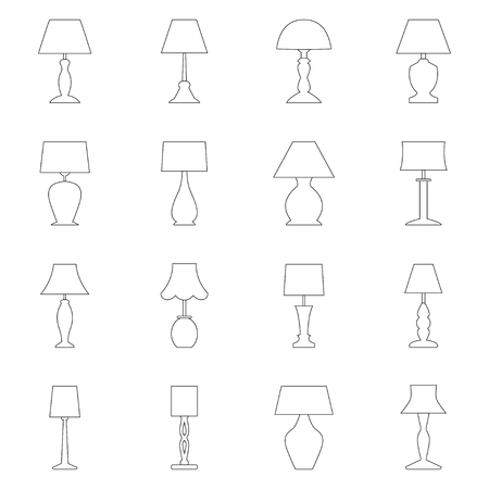 Set of contours of lamps, vector illustration Illustration