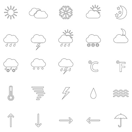Set of contours of weather icons, vector illustration