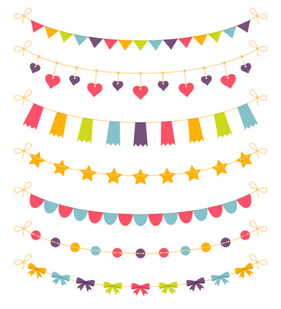 Set of colorful garlands, vector illustration Illustration