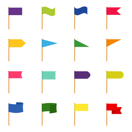 Set of icons of color flags, vector illustration