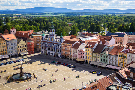 View of central town square in Ceske Budejovice, Czech republic. June 17, 2017