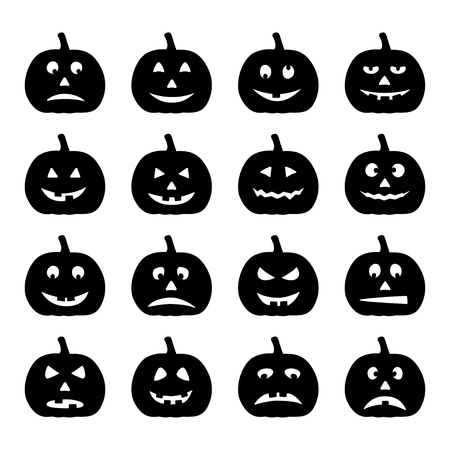 Set of black halloween pumpkins, vector illustration