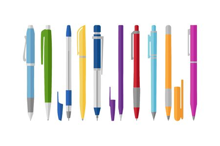Collection of different pens, flat style, vector illustration