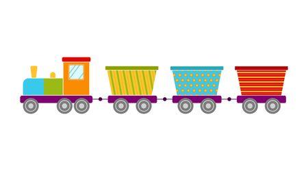 Bright toy train, vector illustration