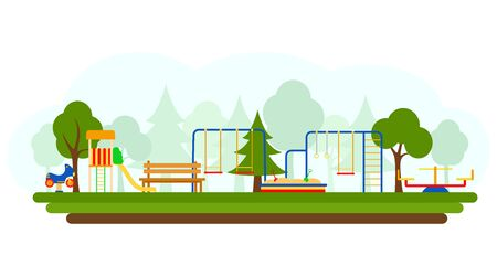 Kids playground with playing equipment, vector illustration. Flat style