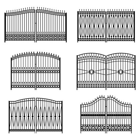 Set of silhouettes of decorative forged gates, vector illustration