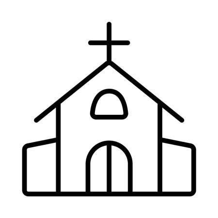 Church icon on white background, vector illustration
