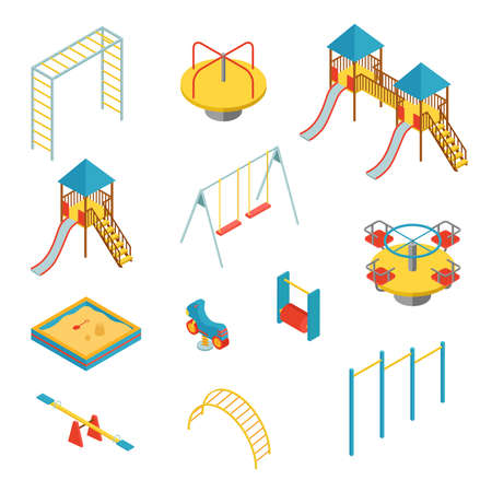 Set of isometric elements for kid playground on white background, vector illustration