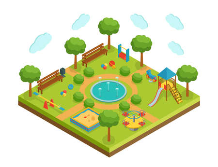 Isometric kid playground with fountain, vector illustration