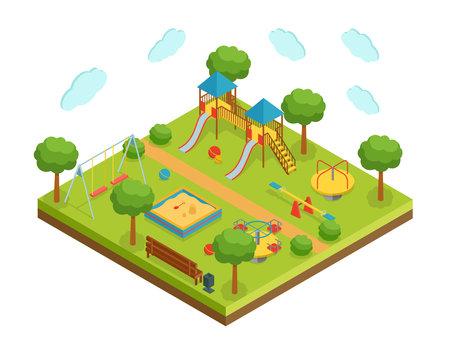 Isometric big kid playground on white background, vector illustration Vetores