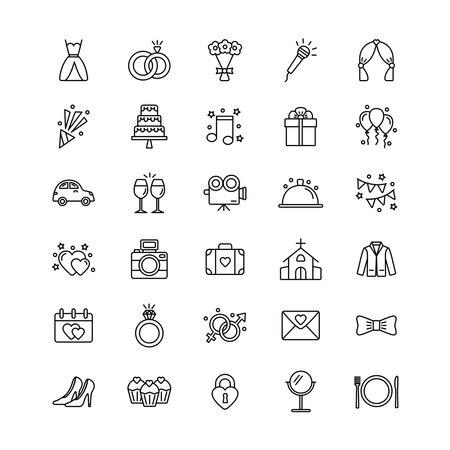 Set of wedding icons on white background, vector illustration 일러스트