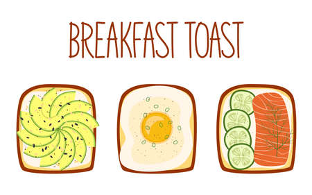 Set of toasts for breakfast with different fillings. Toasts with avocado, egg, salmon and cucumber. Vector illustration
