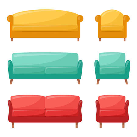 Set of colored sofas and armchairs. Collection of comfortable sofas and armchairs for interior design, vector illustration Ilustracje wektorowe