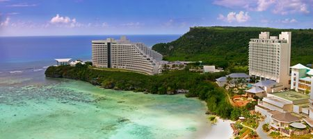 The pacific tropical island of Guam and Tumon bay with hotels.