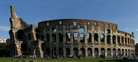 The colosseum as seen in its true perspective in wide panorma form