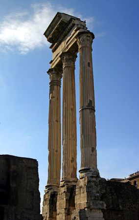 The ramians of the temple in the roman Forum
